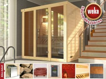 Weka Sauna Kemi Panorama 2 45mm Saunaofen Bio 7,5kW FarbvisionenSetA Bild 1