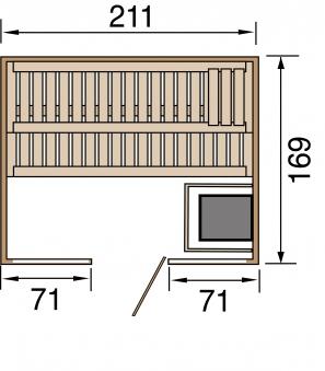 Weka Sauna Kemi Panorama 2 45mm Saunaofen Bio 7,5kW FarbvisionenSetA Bild 2