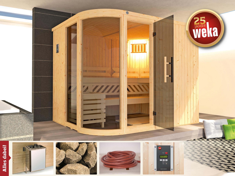 Weka Sauna Sara 2 Set 68mm + Saunaofen 9kW extern + Glastür + Fenster Bild 1