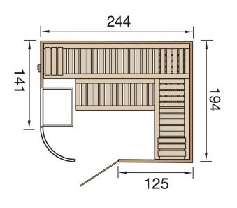 Weka Sauna Sara 2 Set 68mm + Saunaofen 9kW extern + Glastür + Fenster Bild 2