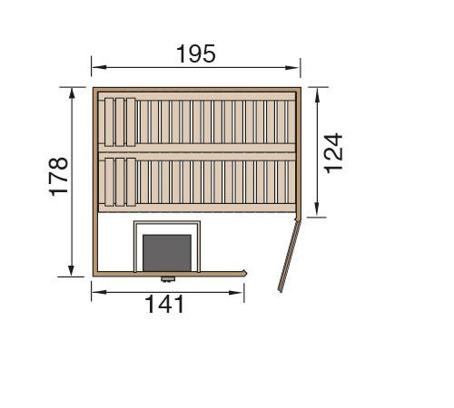 Weka Sauna Turku 1 Set 1 45mm Saunaofen 7,5kW PremiumGlastür + Fenster Bild 2