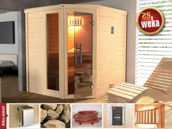 Weka Sauna Turku 1 Set 1 45mm Saunaofen 7,5kW PremiumGlastür + Fenster Bild 1
