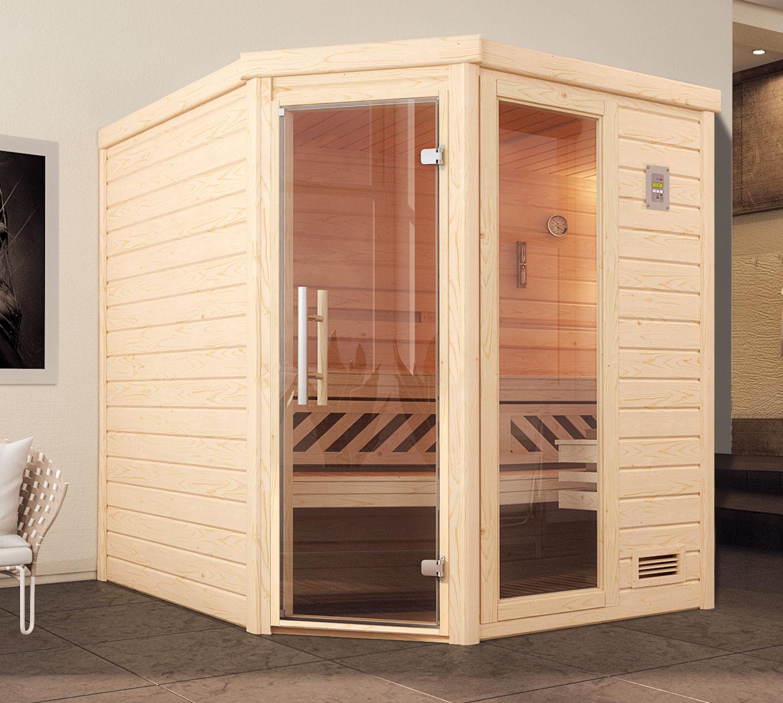 Weka Sauna Turku 2 GTF 45mm ohne Ofen Glastür mit Fenster Bild 1