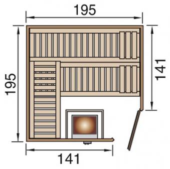 Weka Sauna Turku 2 GTF 45mm ohne Ofen Glastür mit Fenster Bild 2