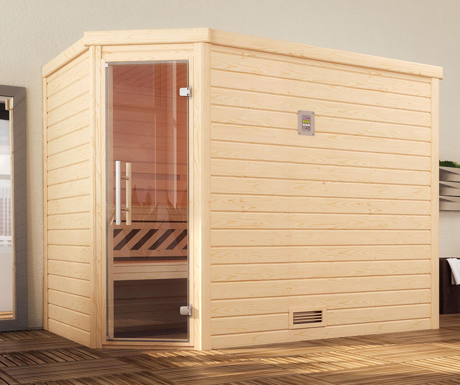 Weka Sauna Turku 3 45mm ohne Ofen mit Glastür Bild 1