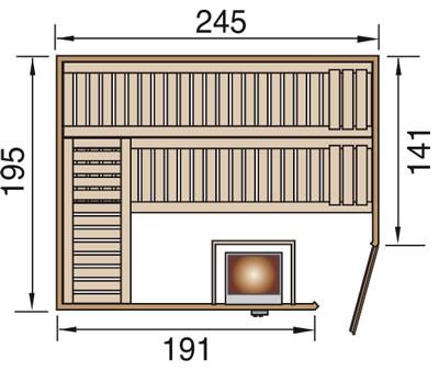 Weka Sauna Turku 3 45mm ohne Saunaofen mit Glastür und Fenster Bild 2