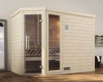 Weka Sauna Turku 3 45mm ohne Saunaofen mit Glastür und Fenster Bild 1