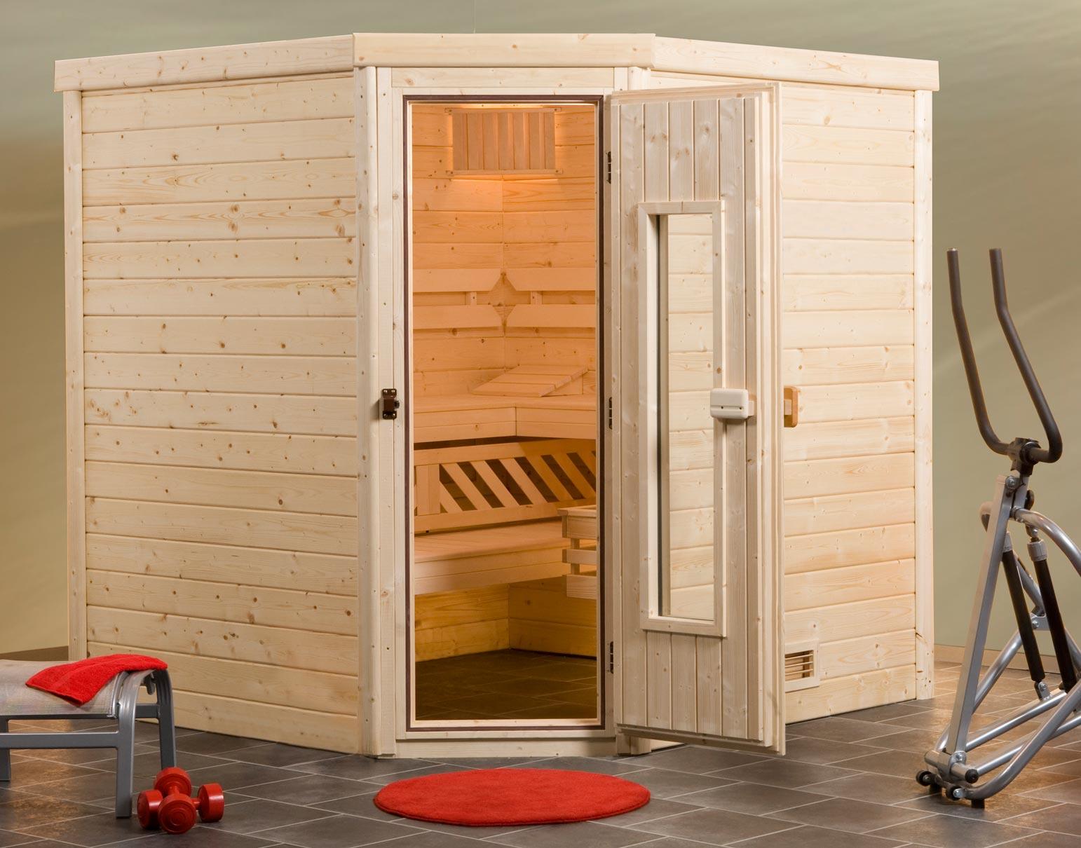 Weka Sauna Turku 3 45mm ohne Saunaofen mit Holztür Bild 1