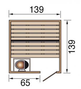 Weka Sauna Valida 1 38mm ohne Saunaofen mit Glastür Bild 2