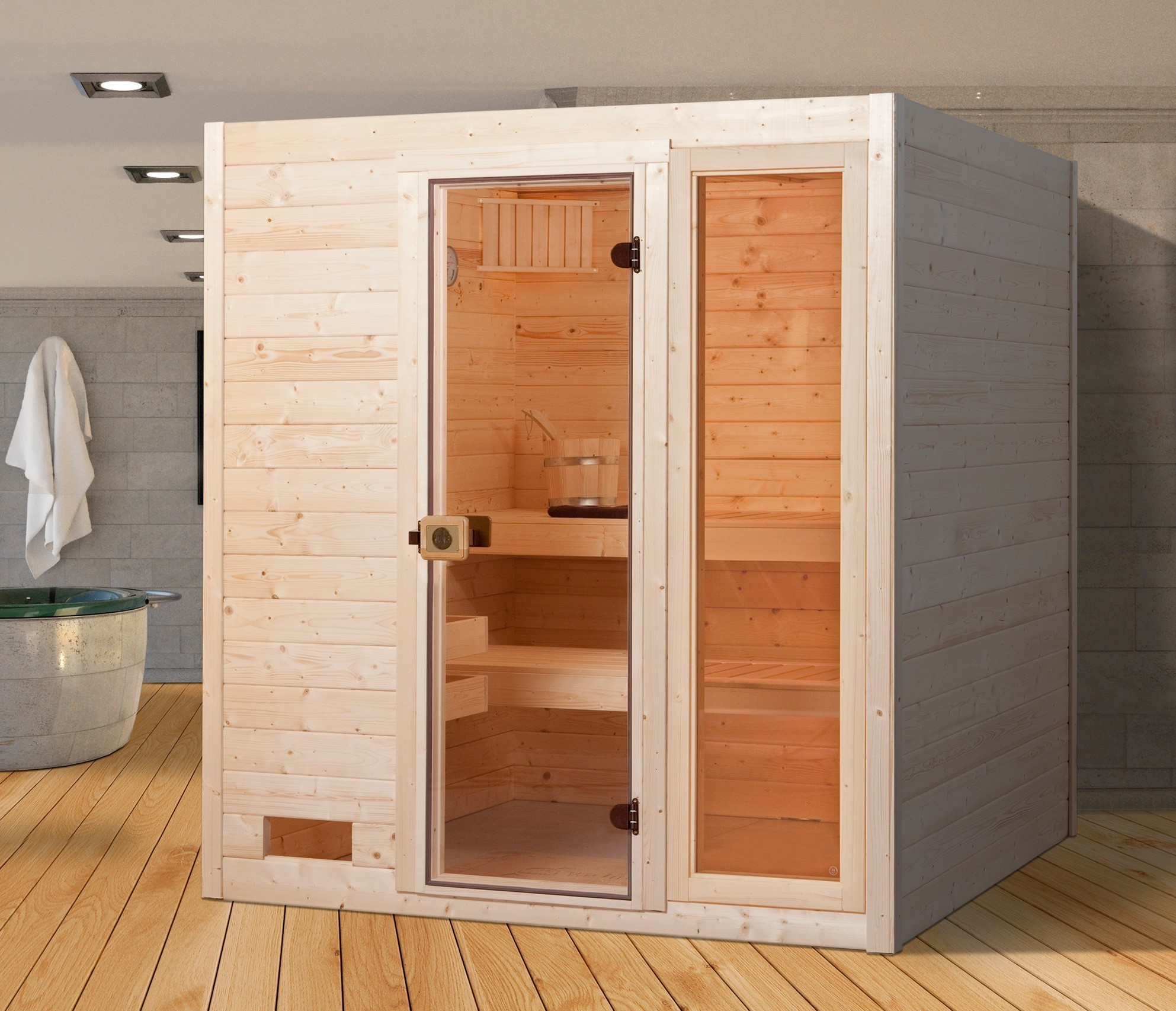 weka sauna 537 gtf gr 3 38 mm ohne ofen mit glast r und fenster bei. Black Bedroom Furniture Sets. Home Design Ideas
