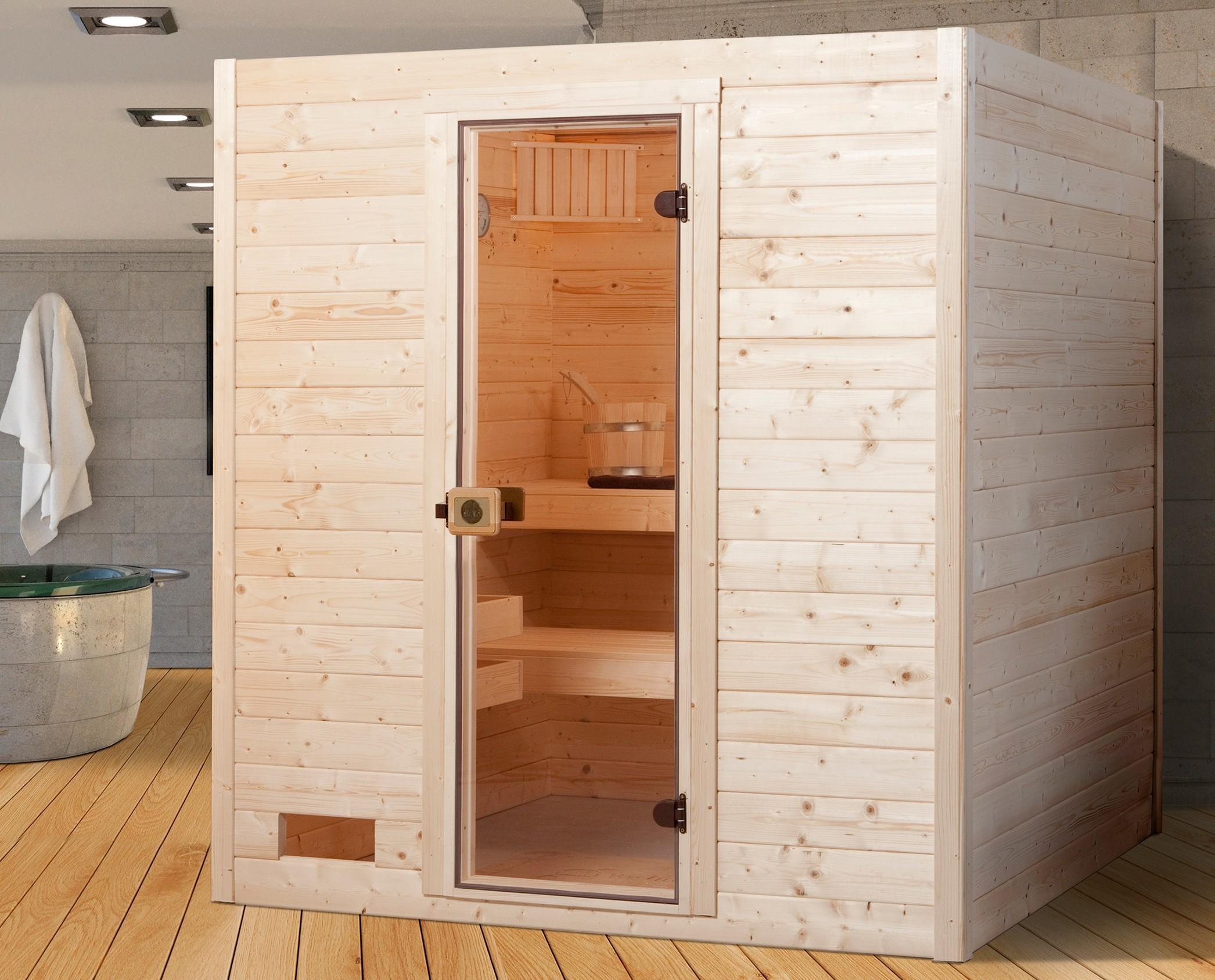 Weka Sauna Valida 3 38mm ohne Saunaofen mit Glastür Bild 1