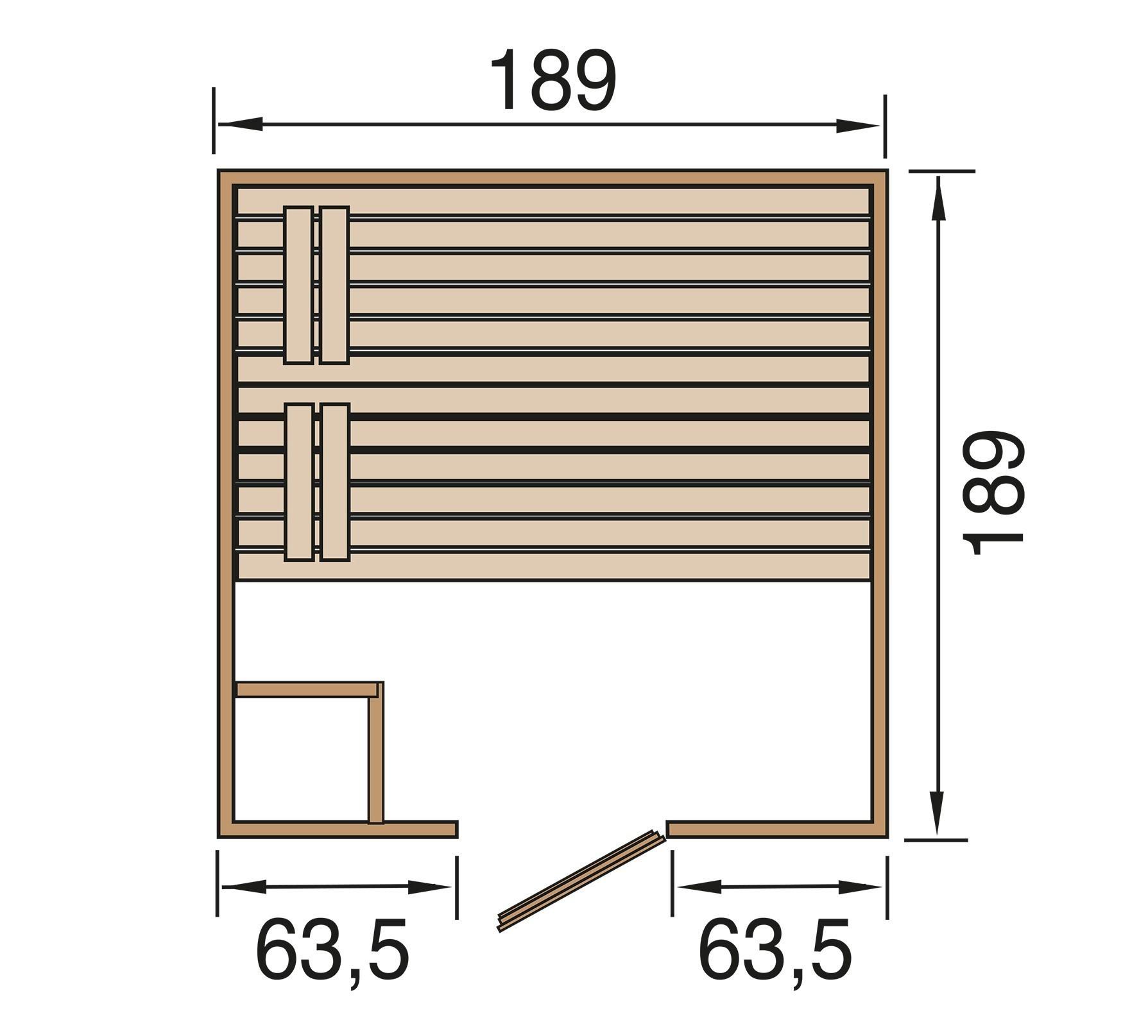Weka Sauna Valida 3 38mm ohne Saunaofen mit Glastür Bild 2