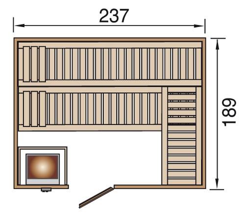 Weka Sauna Valida 4  38mm ohne Saunaofen mit Glastür Bild 2