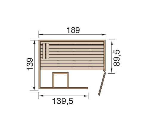 Weka Sauna Valida Eck 1 38mm ohne Saunaofen mit Glastür Bild 2