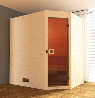 Weka Sauna Valida Eck 1 38mm ohne Saunaofen mit Glastür Bild 1