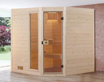 Weka Sauna Valida Eck 2 38mm ohne Saunaofen mit Glastür + Fenster Bild 1
