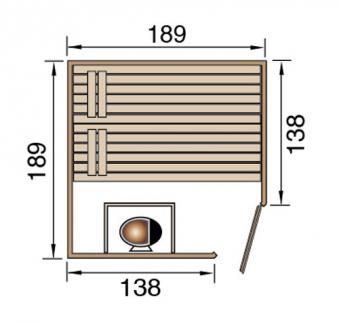 Weka Sauna Valida Eck 2 38mm ohne Saunaofen mit Glastür + Fenster Bild 2