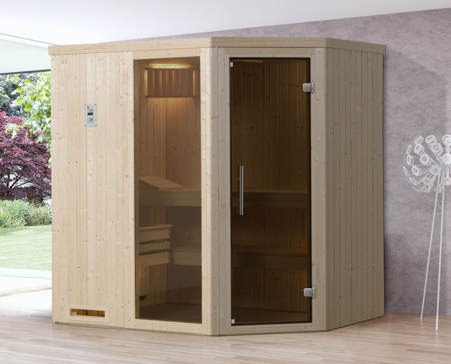 Weka Sauna Varberg 1 68mm ohne Saunaofen mit Glastür und Fenster Bild 1