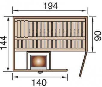 Weka Sauna Varberg 1 68mm ohne Saunaofen mit Glastür Bild 2