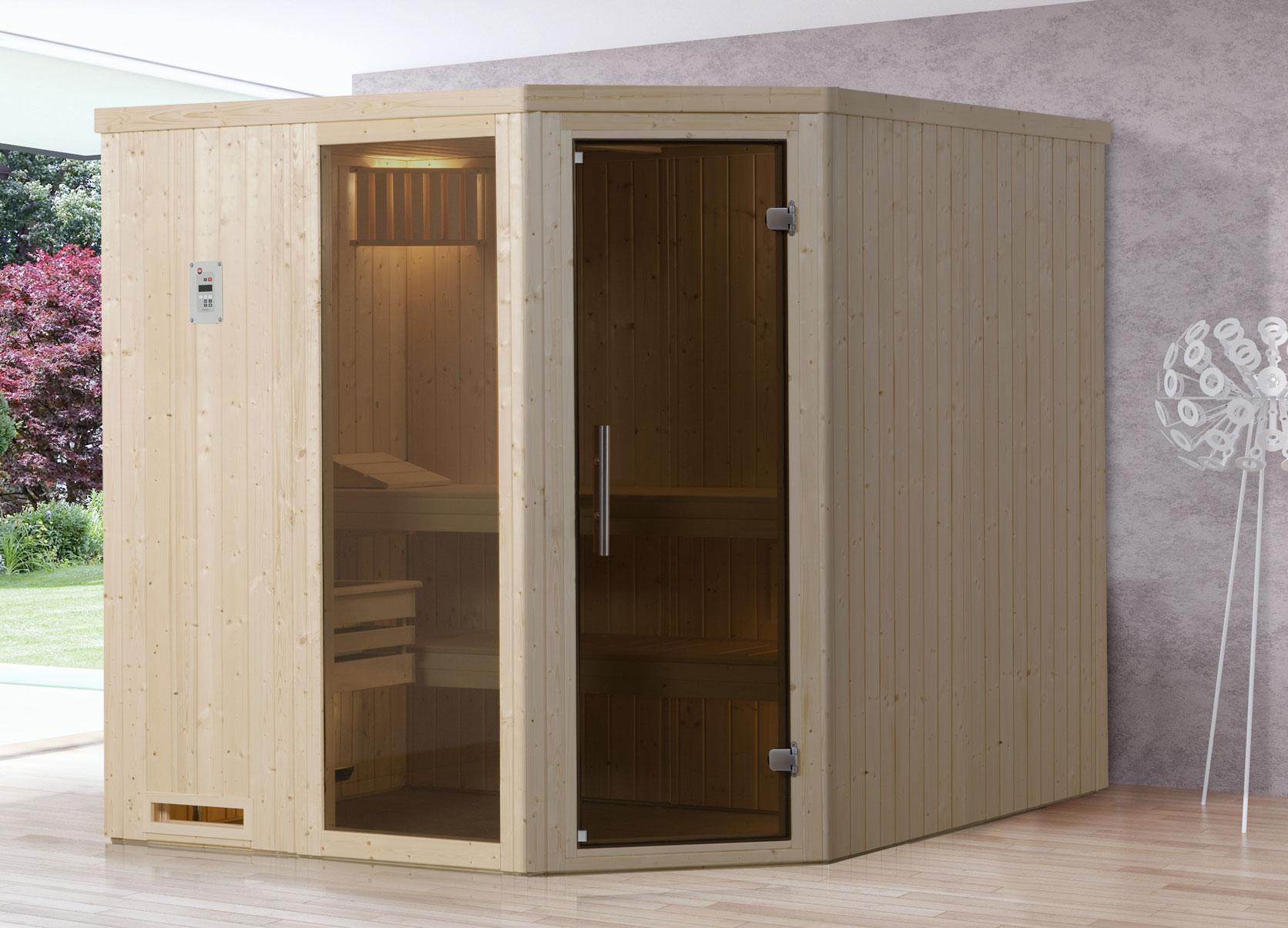 Weka Sauna Varberg 3 68mm ohne Saunaofen mit Glastür und Fenster Bild 1