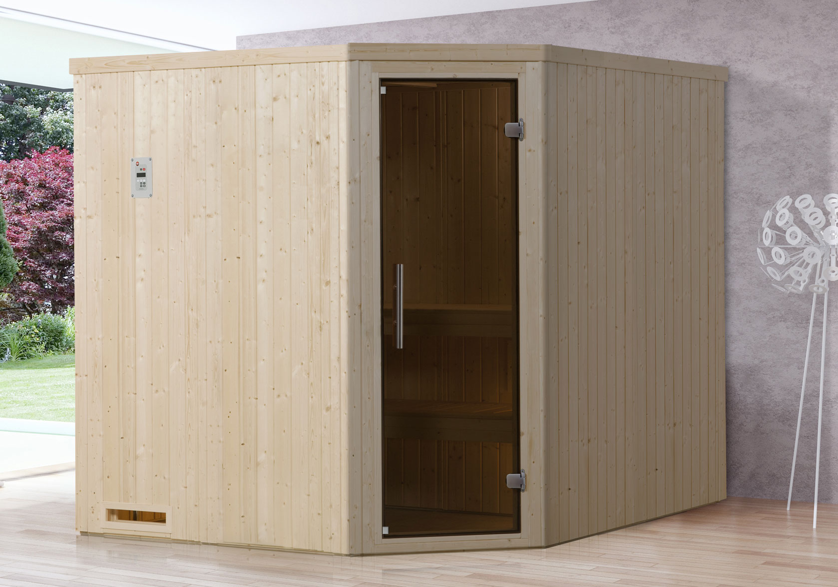 Weka Sauna Varberg 3 68mm ohne Saunaofen mit Glastür Bild 1
