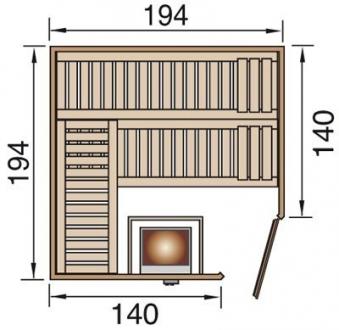 Weka Sauna Varberg 3 68mm ohne Saunaofen mit Glastür Bild 2
