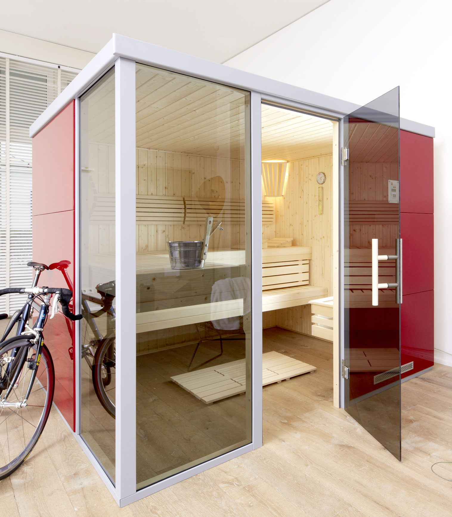 Weka Sauna / Wellnissage Designsauna I L Rosso 68mm ohne Saunaofen Bild 1
