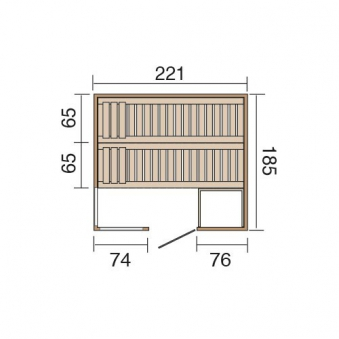 Weka Sauna / Wellnissage Designsauna I L Rosso 68mm ohne Saunaofen Bild 3