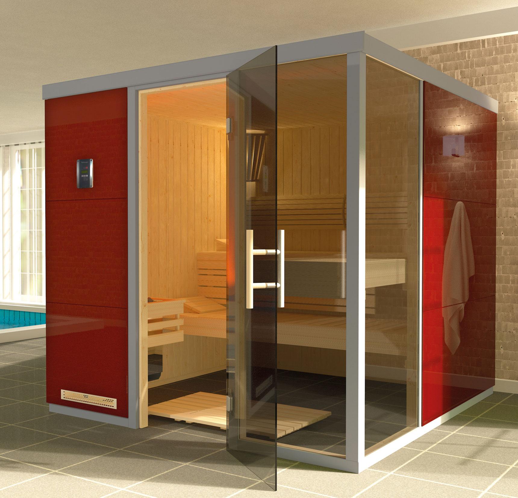 Weka Sauna / Wellnissage Designsauna I R Rosso 68mm ohne Saunaofen Bild 1