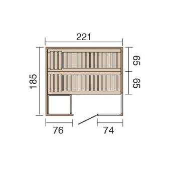 Weka Sauna / Wellnissage Designsauna I R Rosso 68mm ohne Saunaofen Bild 3