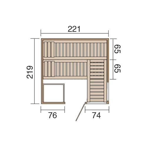 Weka Sauna / Wellnissage Designsauna II R Grigio 68mm ohne Saunaofen Bild 3