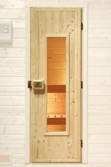 Weka Saunatür Massivholz isoliert mit Glaseinsatz Bild 1