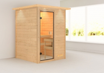 WoodFeeling Massivholzsauna Svenja 38mm Dachkranz o. Ofen classic Tür Bild 1