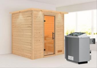 WoodFeeling Sauna Anja 38mm Saunaofen 9kW intern Kranz Klarglas Tür Bild 1
