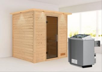 WoodFeeling Sauna Anja 38mm Saunaofen 9kW intern Kranz moderne Tür Bild 1