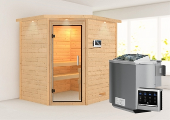 WoodFeeling Sauna Mia 38mm Bio Saunaofen 9kW extern Kranz Klarglas Tür Bild 1