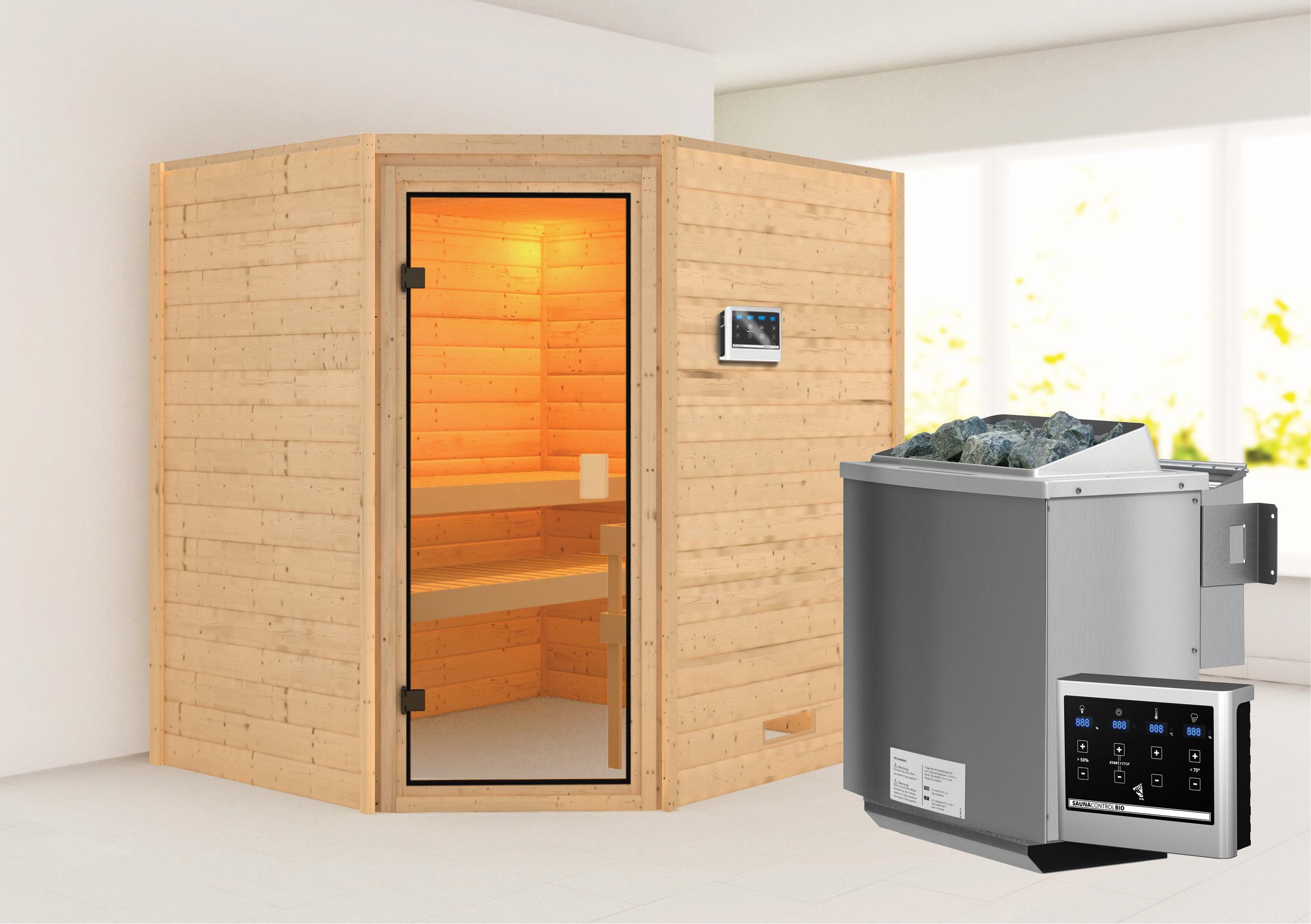 WoodFeeling Sauna Mia 38mm Bio Saunofen 9kW extern Classic Tür Bild 1