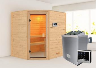 WoodFeeling Sauna Mia 38mm Saunaofen 9kW extern Classic Tür Bild 1