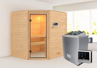 WoodFeeling Sauna Mia 38mm Saunaofen 9kW extern Klarglas Tür Bild 1
