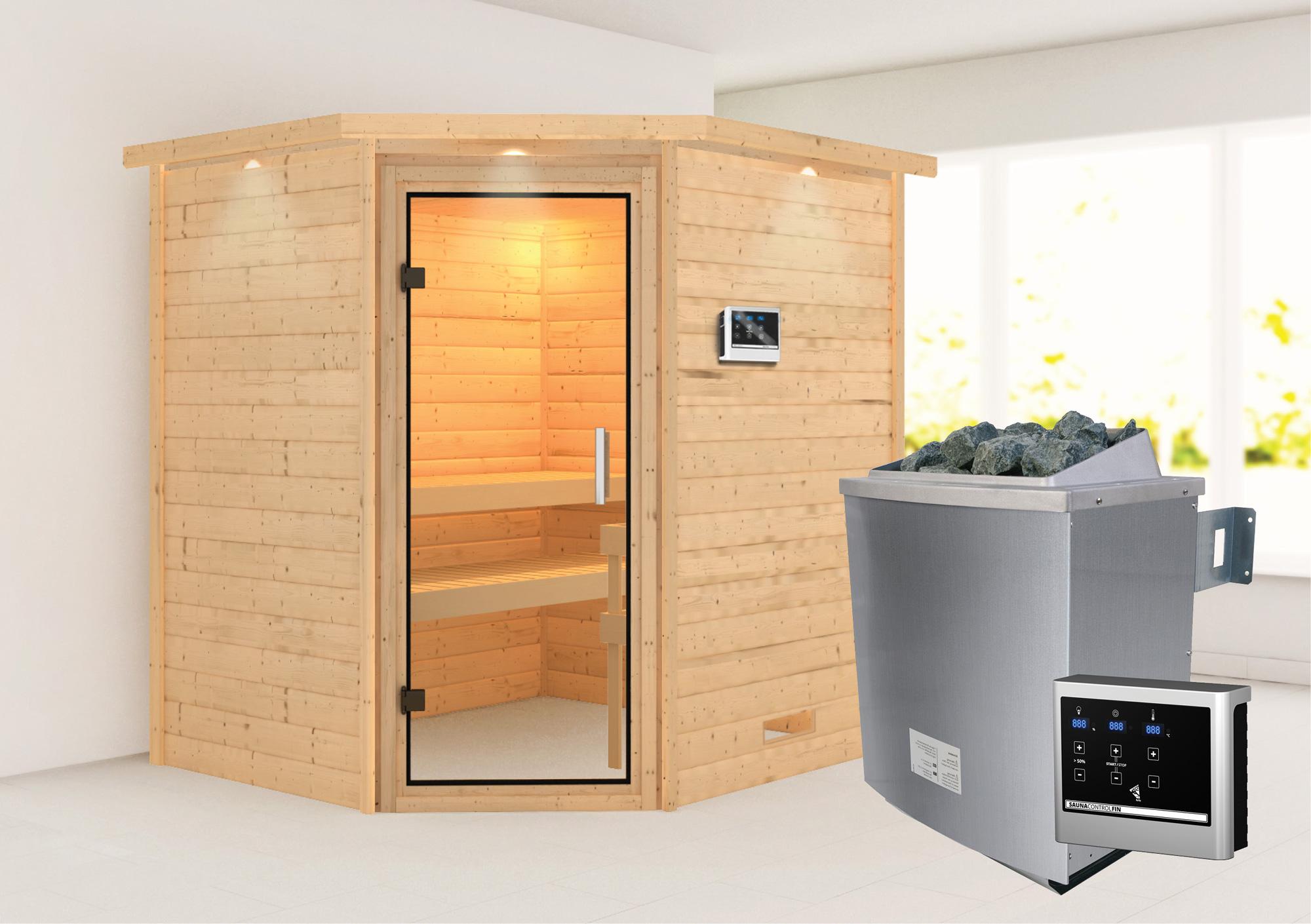 WoodFeeling Sauna Mia 38mm Saunaofen 9kW extern Kranz Klarglas Tür Bild 1