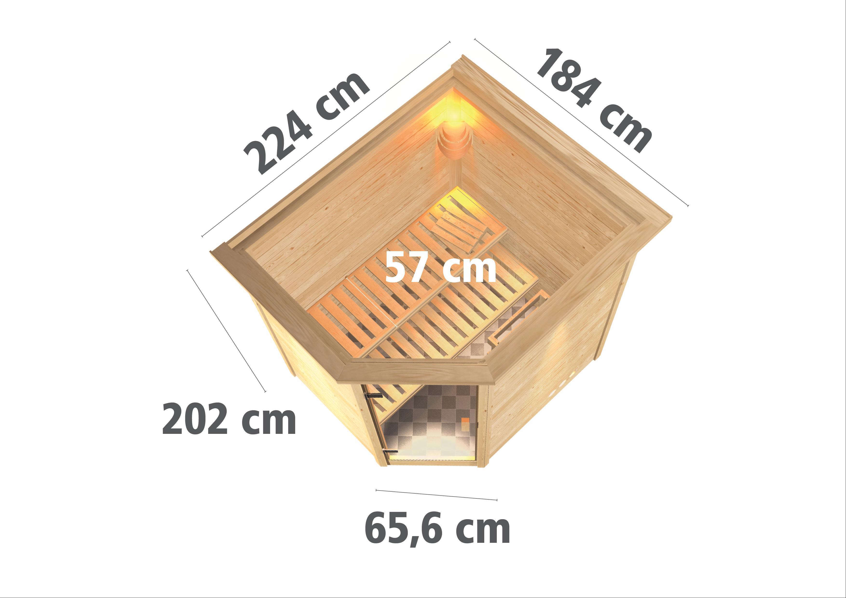 WoodFeeling Sauna Mia 38mm Saunaofen 9kW extern Kranz Klarglas Tür Bild 3