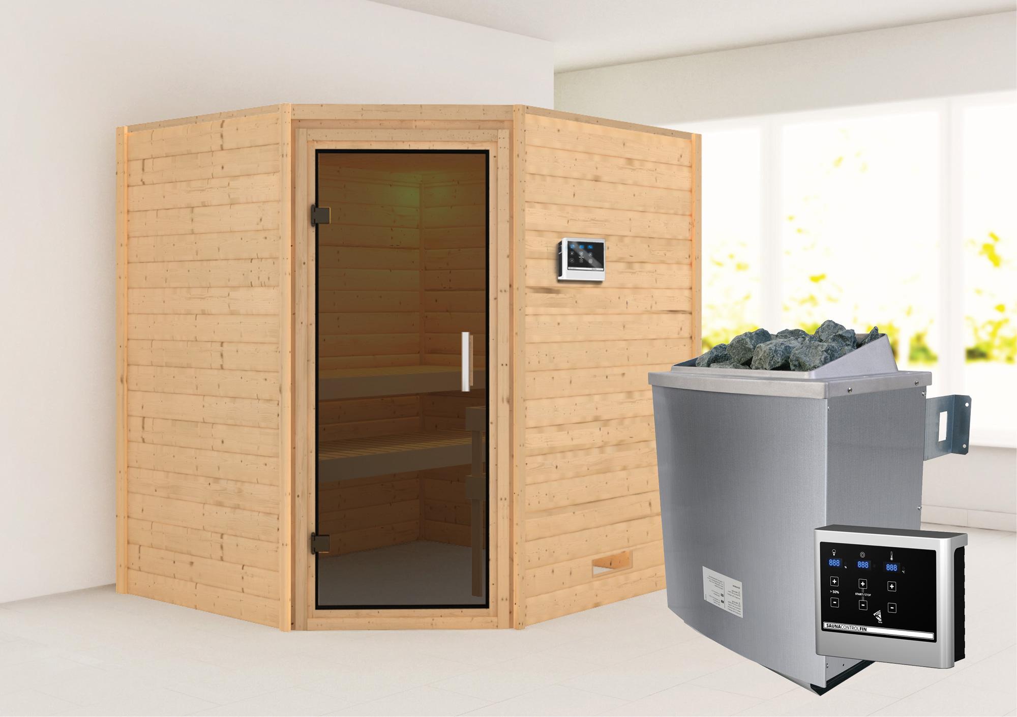 WoodFeeling Sauna Mia 38mm Saunaofen 9kW extern moderne Tür Bild 1
