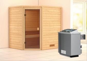 WoodFeeling Sauna Mia 38mm Saunaofen 9kW intern Classic Tür Bild 1