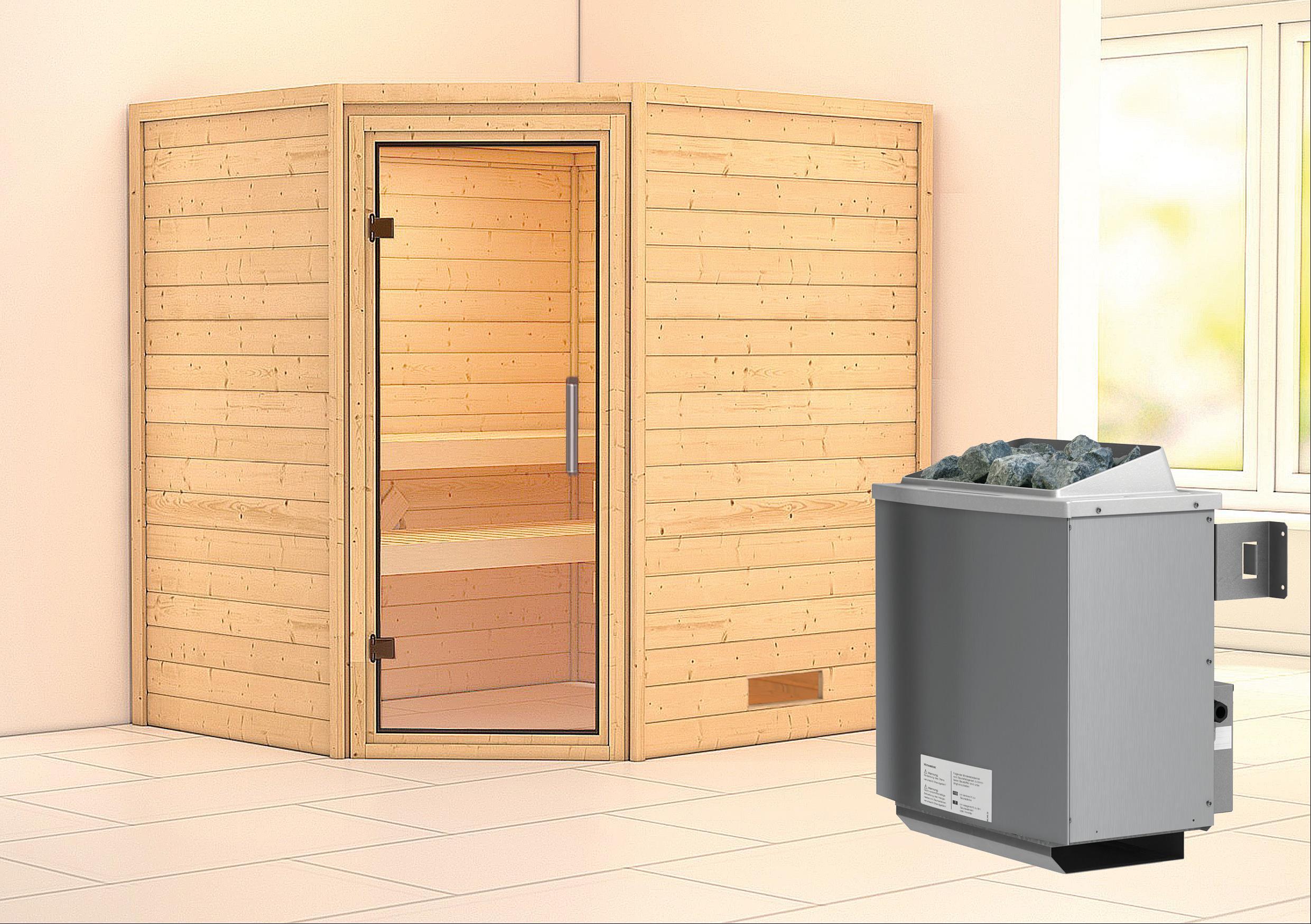 WoodFeeling Sauna Mia 38mm Saunaofen 9kW intern Klarglas Tür Bild 1
