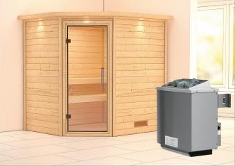 WoodFeeling Sauna Mia 38mm Saunaofen 9kW intern Kranz Klarglas Tür Bild 1