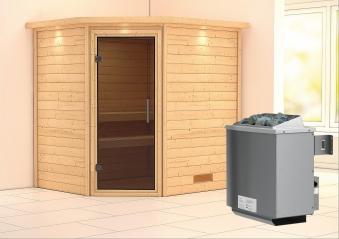WoodFeeling Sauna Mia 38mm Saunaofen 9kW intern Kranz moderne Tür Bild 1