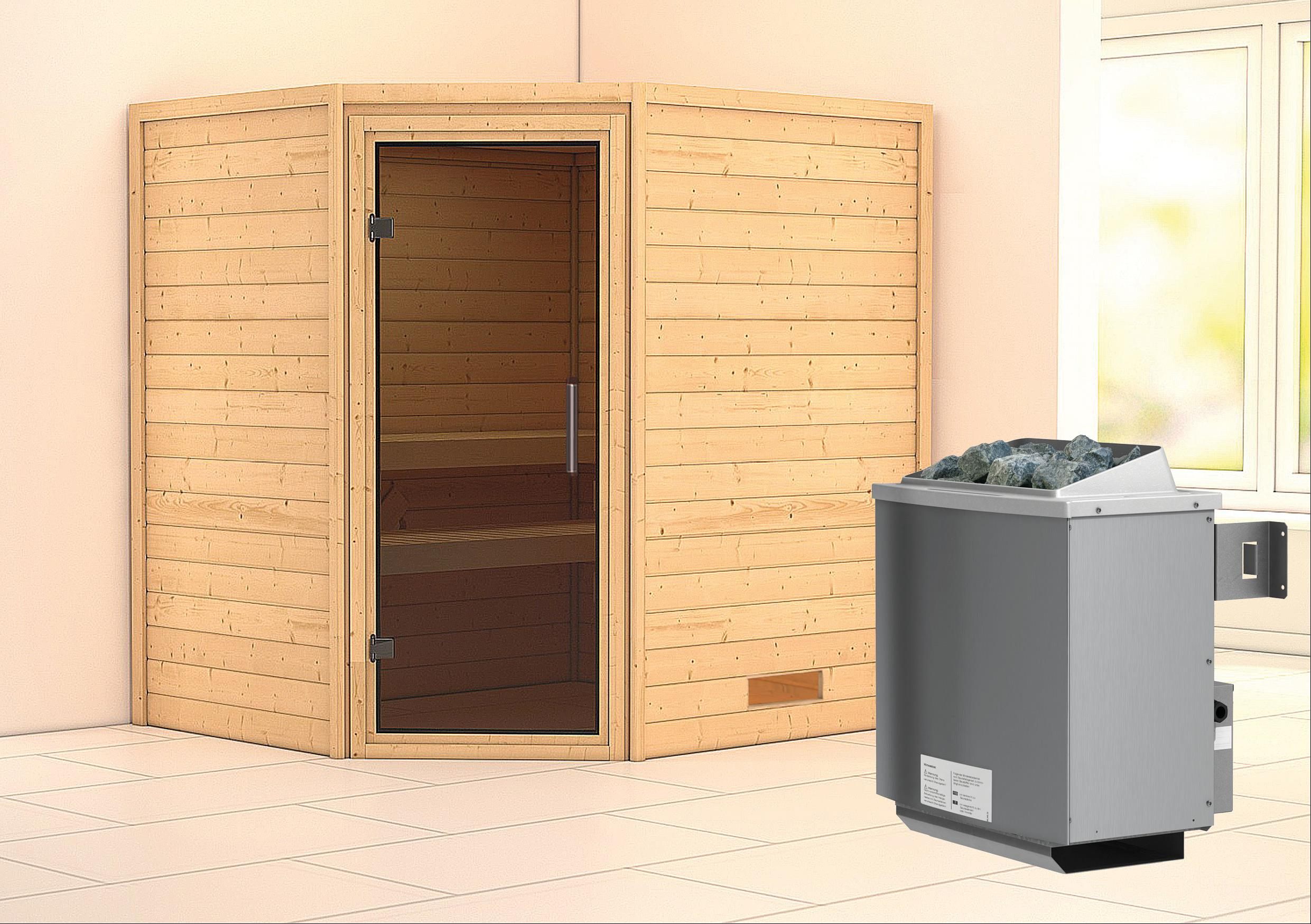 WoodFeeling Sauna Mia 38mm Saunaofen 9kW intern moderne Tür Bild 1