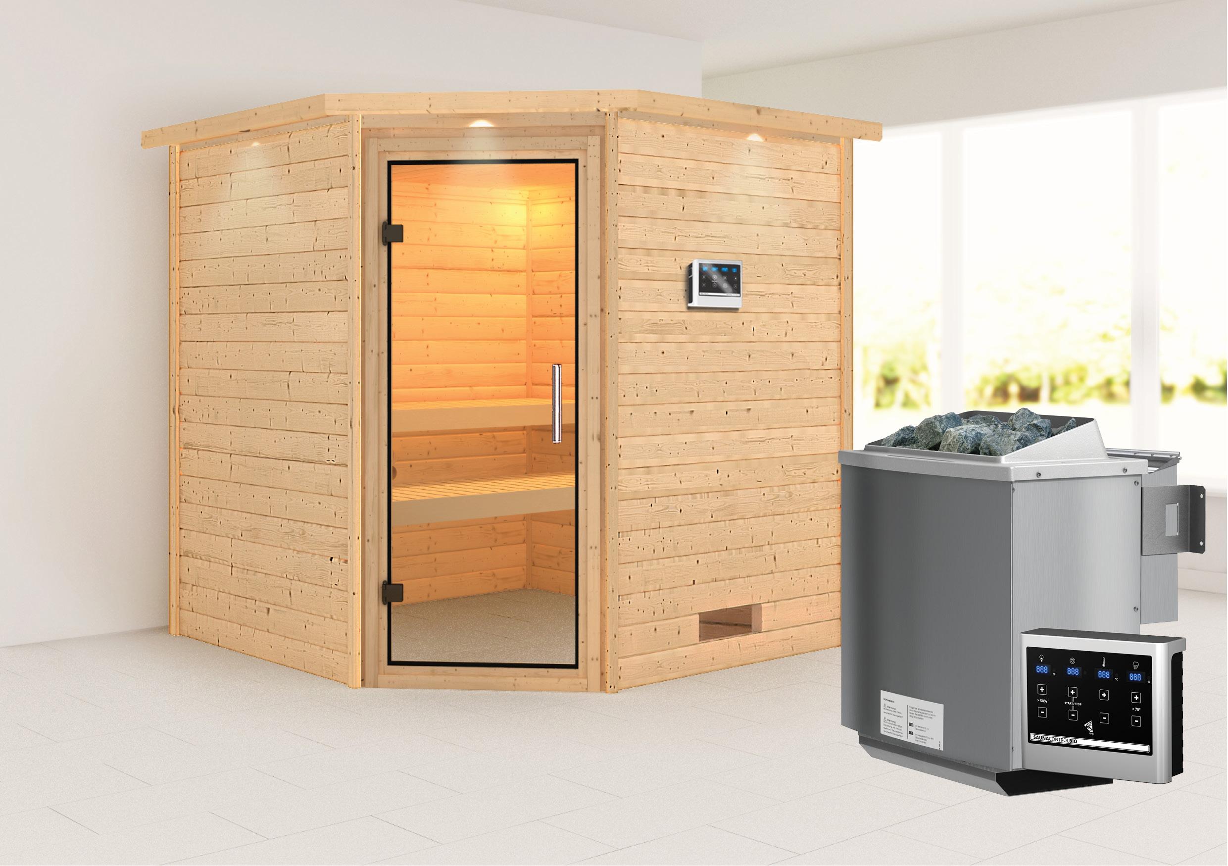 WoodFeeling Sauna Nina 38mm Bio Saunaofen 9kW ext. Kranz Klarglas Tür Bild 1
