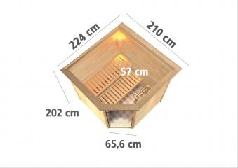 WoodFeeling Sauna Nina 38mm Bio Saunaofen 9kW ext. Kranz Klarglas Tür Bild 3