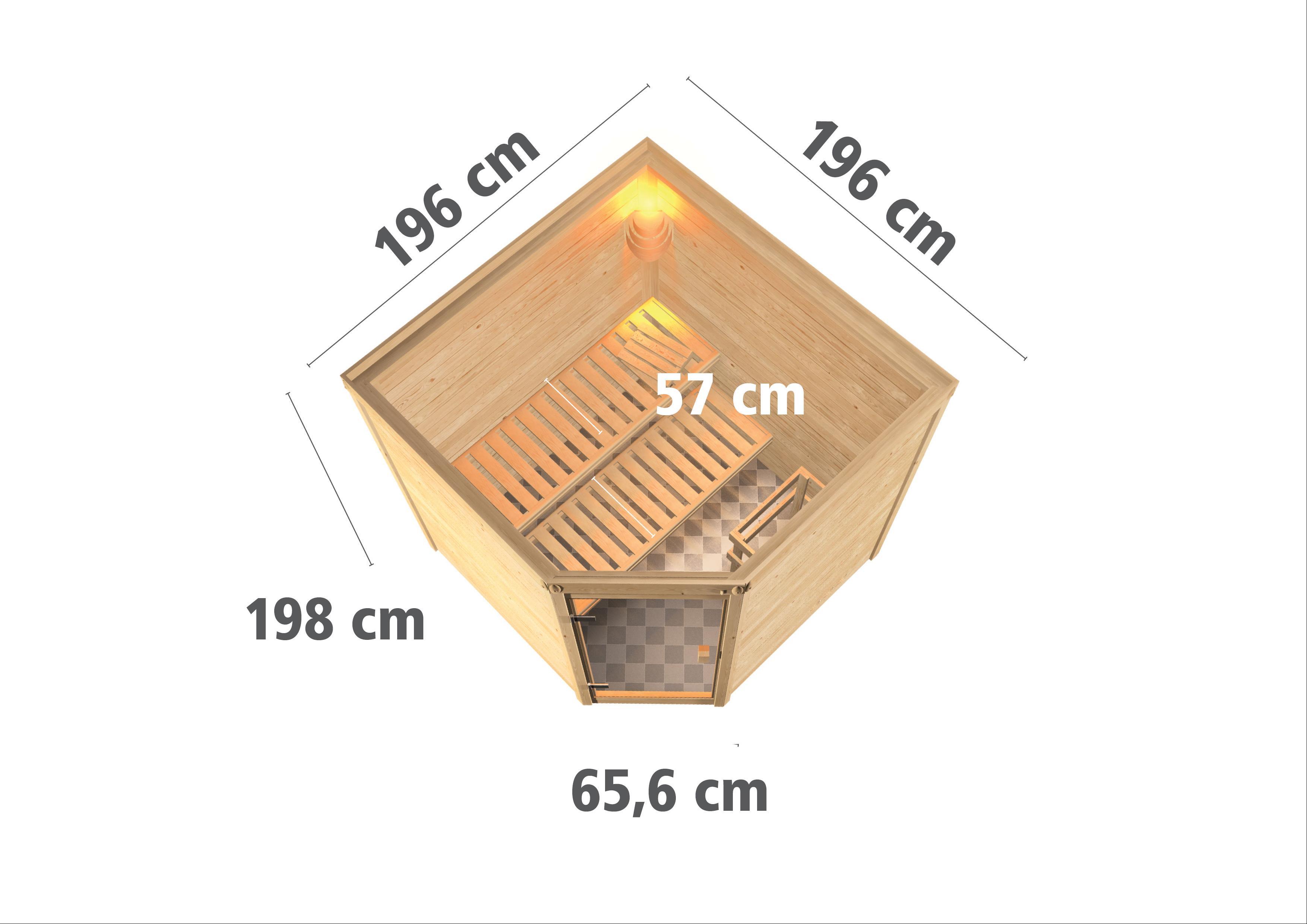 WoodFeeling Sauna Nina 38mm Bio Saunaofen 9kW extern Classic Tür Bild 3